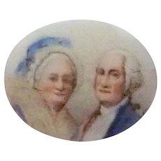 George Washington and Wife Small Ceramic Plaque