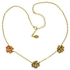 JOAN RIVERS - Sparkling Enamel Pansies Necklace