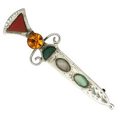 Scottish Sterling Silver Agates and Paste Dirk Pin - WBs 1954