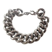 French Antique Silver Flowers Curb Bracelet