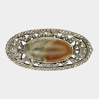 Sterling Silver Moss Agate Marcasite Brooch