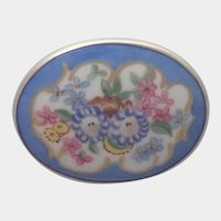 Floral Painted Ceramic Plaque on Sterling Silver Brooch