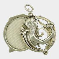 Art Nouveau 900 Silver Lady Pierced Slide Pendant