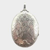 Victorian Sterling Silver Double Sided Engraved Locket