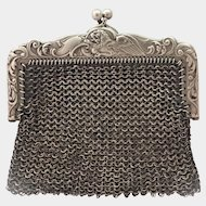 French Art Nouveau Silver Griffin Chain Mail Purse