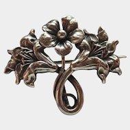 French Art Nouveau Silver Flowers Watch Pin