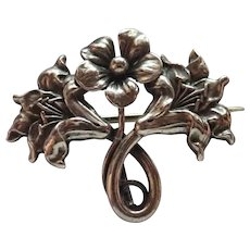 French Art Nouveau Silver Flowers Watch Pin