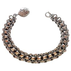 French Antique Silver and Rose Gold Bracelet  with Ball Charm