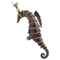 Sterling Silver Gilt and Enamel Seahorse Pendant Necklace