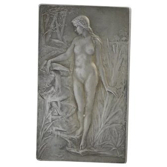 French 1904 Sterling Silver Lady Plaque - Prud'homme