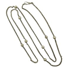 "Victorian European Silver Ball Chain Necklace - 39 ""Long"