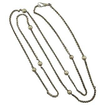 "Victorian European Silver Ball Chain Necklace - 39 ""Long"
