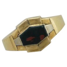 French Art Deco Gold Filled 'FIX' and Bloodstone Agate Ring