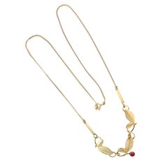 French Circa 1910 Gold Filled 'FIX' Leaf Necklace
