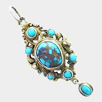 Austro-Hungarian Silver Gilt Turquoise Pendant