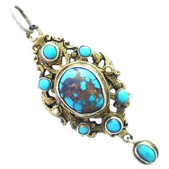 Austro-Hungarian Silver Gilt Turquoise Pendant