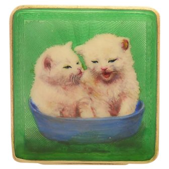 Sterling Silver and Enamel with Kittens Compact