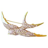 Large Gold Plated and Pastes Swallow Pin