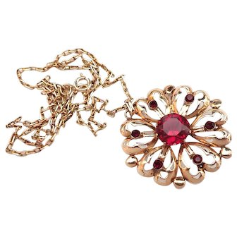 Gold 14K and 9K Garnet Pendant Necklace/Pin