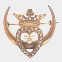 Victorian 14K Gold Pearl Heart and Crown Pin
