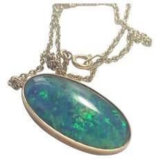 Opal Doublet and 9K Gold Chain Necklace