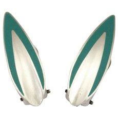 POUL WARMIND - Denmark - Silver Enamel Clip Earrrings