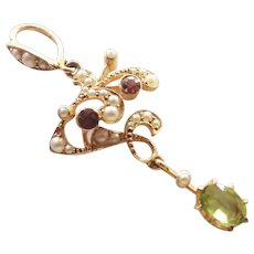 Victorian 15K Gold Tourmalines, Peridot and Seed Pearls Pendant