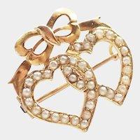 Edwardian 15K Gold Twin Hearts Pin/Pendant