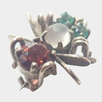 Silver Gilt Garnet and Emeralds Tiny Bug Pin