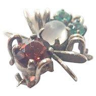 Silver Gilt Garnet and Emeralds Tiny Bug Pin