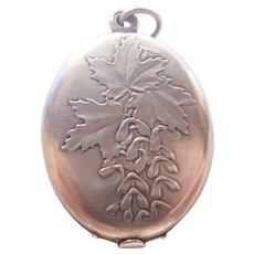 French Art Nouveau Silver Maple Mirror Slide Pendant