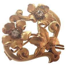 French Art Nouveau 18K Gold Filled Flower Pin - FIX
