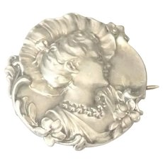Art Nouveau  English Silver Lady and Flower Pin