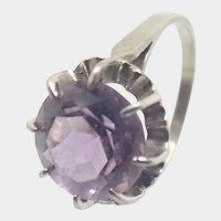 French Silver and Amethyst Ring