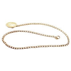 14K Gold  Watch Chain with Greek Hero Fob