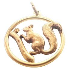 French Gold Filled 'FIX' Squirrel Pendant