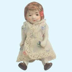 Art Deco Small Bisque Hand Painted Doll