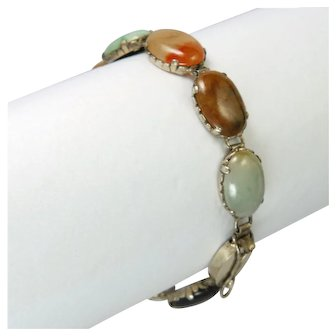 Art Deco Sterling Silver and Agates Bracelet