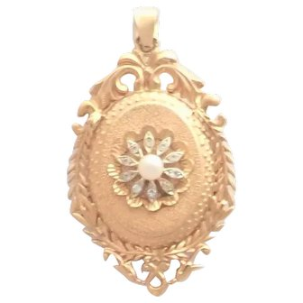 French Antique 18K Gold Spinels and Pearl Locket