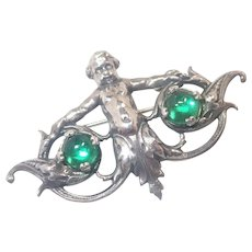 Victorian Renaissance Revival Silver Cherub Pin