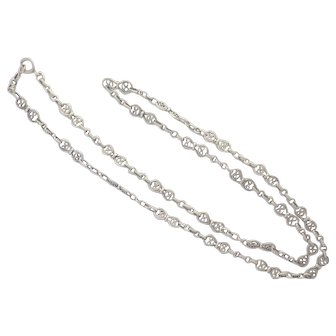 French Antique Silver Necklace  - 25 ¾ inches