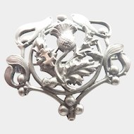 French Art Nouveau Silver Mistletoe and Thistle Watch Pin