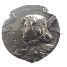 French Circa 1900 Joan of Arc Silve Pin - BECKER