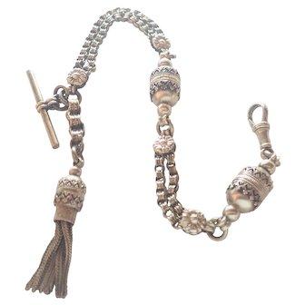 Victorian Sterling Silver Albertina Bracelet with Tassel - 15.3 grams