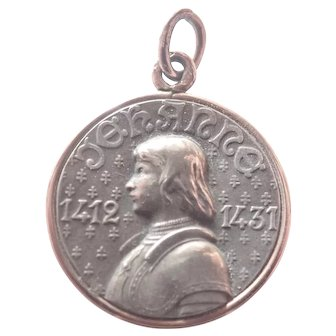 French Antique Silver with Rose Gold Joan of Arc  Pendant or Medal