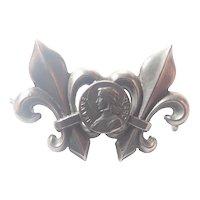French Silver Joan of Arc Fleur de Lis Pin