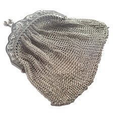 French Art Nouveau Silver Mesh Chrysanthemum Purse Pendant