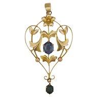 English Art Nouveau 9K Gold and Sapphire Pastes Pendant