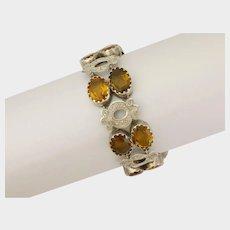 Scottish Victorian Cairgorm Citrine and Sterling Silver Bracelet