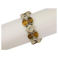 Scottish Victorian Cairgorm Citrine and Sterling Silver Bracelet